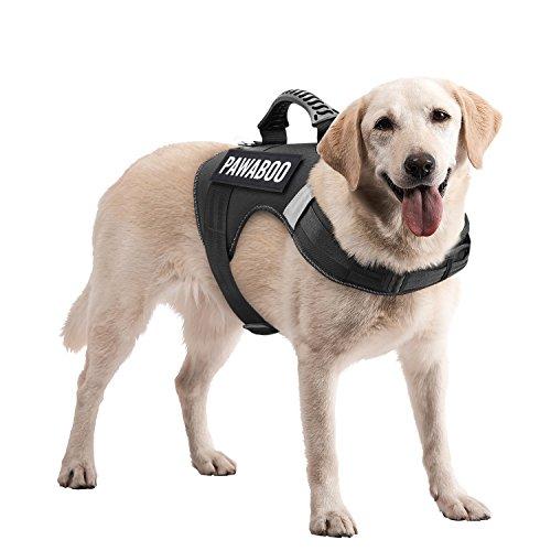 Pawaboo Service Hundweste Hundegeschirr, Premium Durable Hochleistungs Soft Gepolsterte Reflektierende Hundegeschirr mit 2 abnehmbaren Klett-Patches, starker PVC-Griff Oben, Large, schwarz