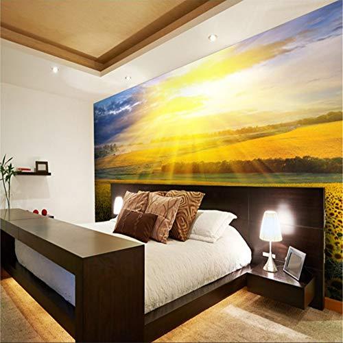 Wuyyii grote aangepaste behang onder de zon in volle bloei rozen Tv wanddecoratie schilderij damast behang 280x200cm