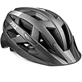PHZ. Adult Bike Helmet CPSC Certified with Rechargeable USB Light, BicycleHelmet for Men Women Road Cycling & Mountain Biking with Detachable Visor (Carbon Black)