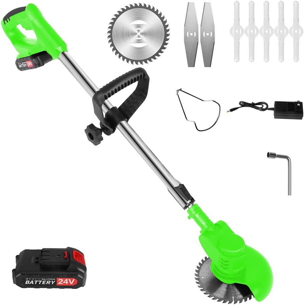 Cordless String Trimmer for Gardening, 24V Lithium Battery Garden Grass Trimmer, Weed Eater Weed Whacker with 1.5Ah Battery Powered and Charger Included, Cap Included, Length Adjustable, Lightweight
