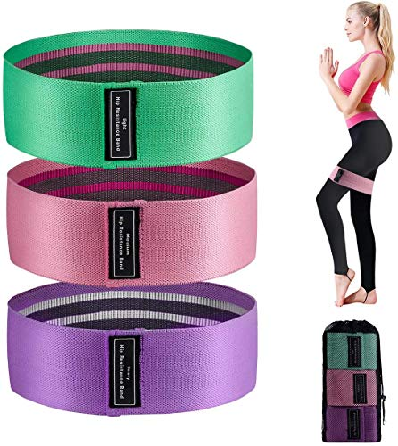 Unknow Bandas de resistencia (3 paquetes), bandas de ejercicio para piernas y culos, bandas de entrenamiento antideslizantes con 3 niveles de resistencia, ideal para sentadillas, pilates y yoga.