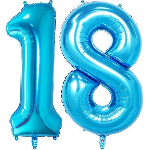 DIWULI, XXL-nummerballonnen, nummer 18, Ijsblauwe ballonnen, nummerballonnen, folieballonnen aantal jaren, folieballonnen blauw voor 18e verjaardag, bruiloft, feest, decoratie, geschenkdecoratie