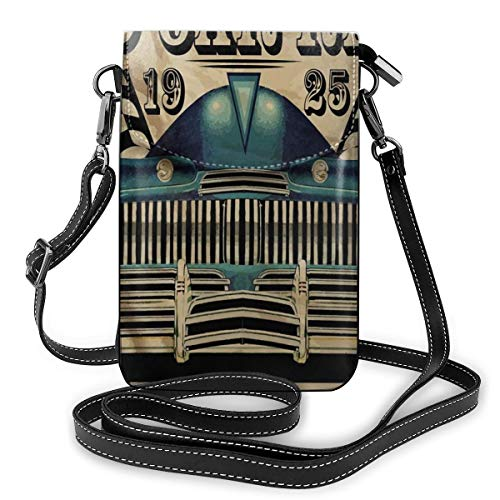 Women Mini Purse Crossbody of Cell Phone,Traditional Old Car Race Theme Nostalgic American Car with Flags Rusty Look