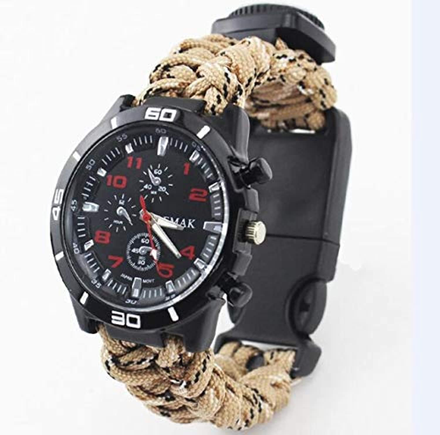 Survival Watch Outdoor Camping Equipment Tools MultiFunctional Tools kit Compass Thermometer Rescue Paracord Bracelet Equipment   color 03