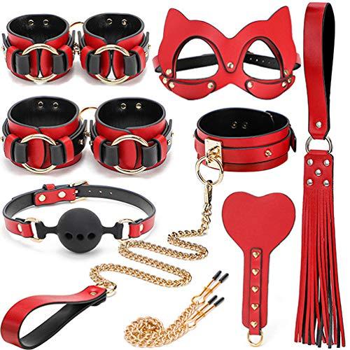 Conjunto Erótico Conjunto De Encuadernación De Paquete De Juguete Alternativo,Kit De Cuero LXJ Conjunto De Encuadernación Especial Incluido (rojo)