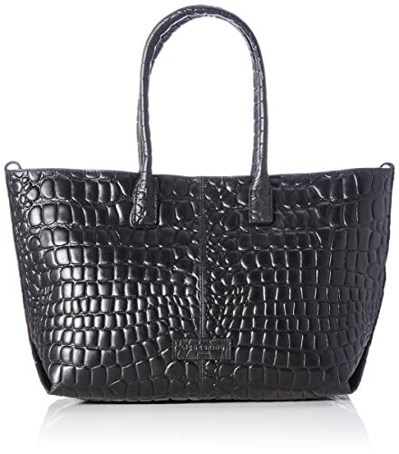 Liebeskind Berlin Damen Chelsea Shopper Kroko Handtasche, Schwarz (Black), Medium
