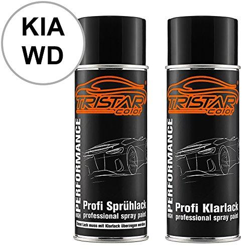 TRISTARcolor Autolack Spraydosen Set für KIA WD Casa White/Carraraweiss Basislack Klarlack Sprühdose 400ml