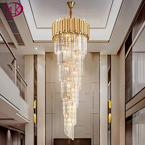 JINKEBIN Araña de Top Luxury Modern LapeLier Iluminación para escaleras Lámparas de luz de cristal de oro largo de la escalera Lámpara de cristal de la escalera interior del pasillo grande
