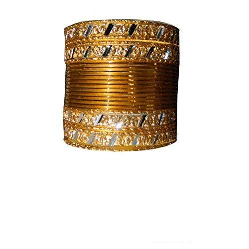 Indische Bangles 24 Armreifen Mahive Gold 6,5 cm mit Bindis Bollywood Sari Schmuck