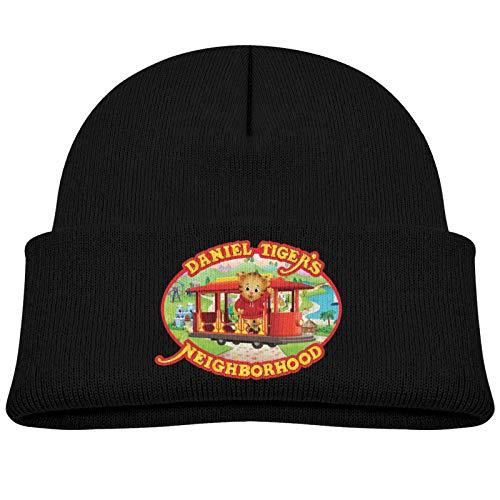 Kids Winter Da-Niel Tiger's Knitted Hats Beanie Skull Cap for Children Black