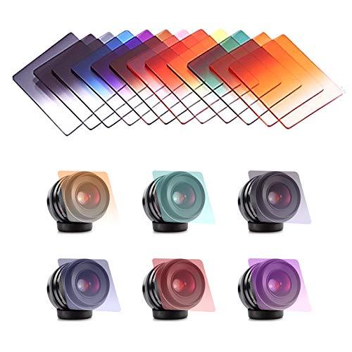 MHwan filtros cokin fotografia, Filtros Camaras, Kit Completo de filtros Cuadrados Filtros ND graduados Filtros Coloridos para cámaras DSLR, 12 Piezas