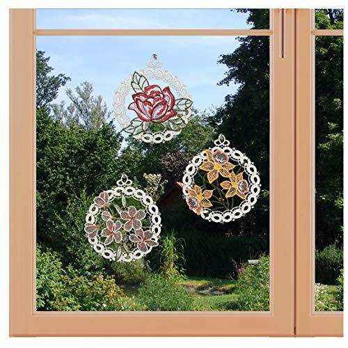 artex deko 3er Set Frühlings-Fensterbilder Blüten mit Rose, Narzisse und Kirschblüten aus Plauener Spitze