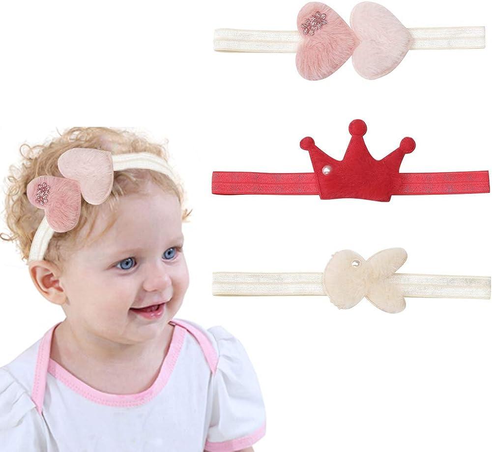 Baby Girl Soft Nylon Headbands for Baby Girls Newborn Toddlers Infant Crown Heart Rabbit Ear Short Plush Headband Elastic Hairband Hair Accessories,3 Pcs