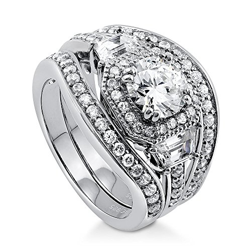 BERRICLE Rhodium Plated Sterling Silver Round Cubic Zirconia CZ Art Deco Halo Wedding Engagement Ring Set 2.5 CTW Size 7.5