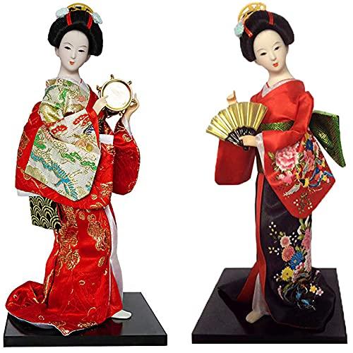 KJWXSGMM Japanese Geisha Kimono Muñeca - 12 Pulgadas (30 cm) Asiática Geisha Collectible Figurine Decoration o Regalo 2pcs,B