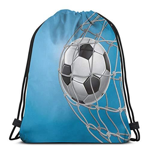 YUDILINSA Mochila con Cordón Mochila Bolsa Bolsa de Gimnasio,Goal Football In Net Entertainment Jugar para ganar un estilo de vida activo,Bolsa de Kit de Saco de Gimnasia Bolsa de Natación para Unisex