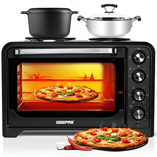 Geepas 35L Mini Oven & Grill with Double Hotplate | 1600W & 60 Minutes Timer | Rotisserie Function & 6 Selectors for Baking & Grilling | 5 Accessories Included & Convection Function – 2 Years Warranty