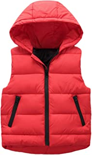 WARMSHOP Kids Toddler Down Coats Vest,Winter Warm Sleeveless Pure Color Zipper Thick Hoodie Outerwear Waistcost Jacket
