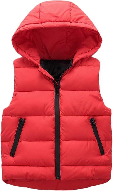 Dacawin Children Winter Warm Down Vest Zipper Windproof Hoodie Coats For Girls Boys