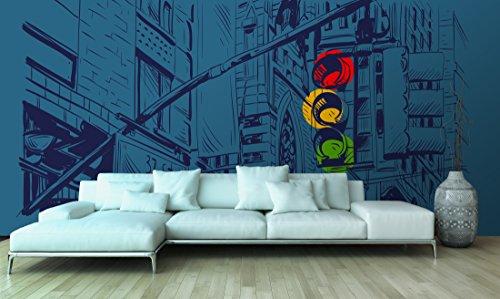 Fotomural Papel Pintado Pared Cómic Semáforo | Fotomural para paredes | Mural | Papel Pintado | Varias Medidas 100 x 70 cm | Decoración comedores, salones, habitaciones...