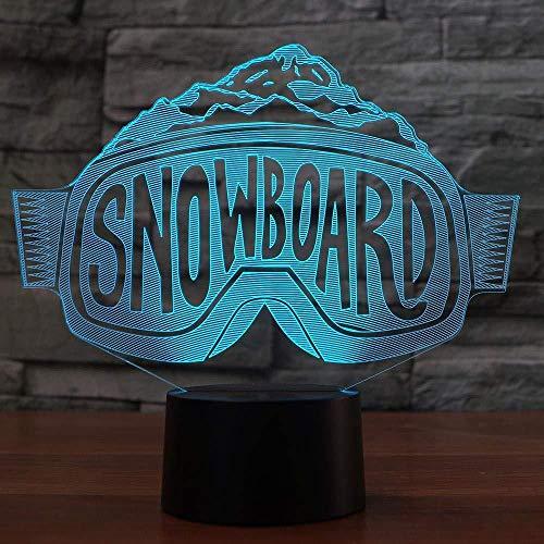 3D Nachtlicht LED Skibrille Modellierung Nachtlichter Bunte Farbverlauf Tischlampe Schlafzimmer Dekoration Nachttisch Snowboard Schlaf Beleuchtung Weihnachtsgeschenke