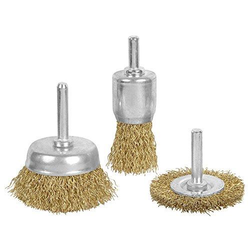 Wideskall 3 Pieces Brass Wheel & Cup Wire Brush Drill Bit...