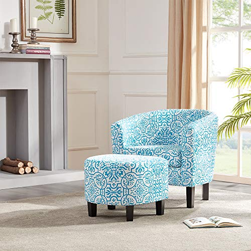 BELLEZE Modern Upholstered Barrel Accent Chair with Ottoman Footrest Set, Blue Floral Print