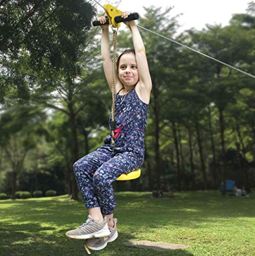 CTSC 95 Foot Zip Line Kit for Kids and Adult with 5.3 Foot Stainless Steel Spring Brake and Seat, Zipline for Backyard Entertainment Equipment, Ziplines for Backyards(Yellow)