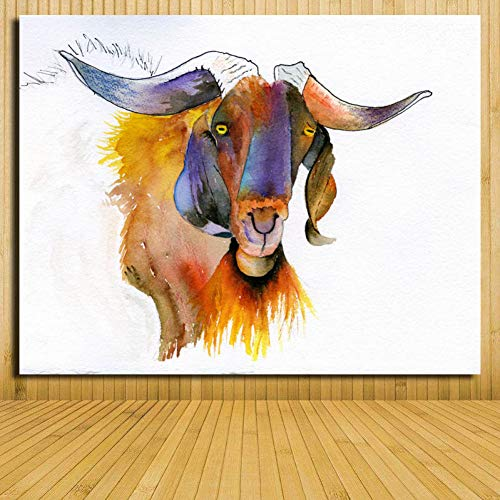 EBONP Lienzo Pintura Decorativa Venta al por Mayor Arte Abstracto Moderno Animal Impreso Pintura al óleo Encantadora decoración de Cabeza de Cabra Pinturas sobre Lienzo