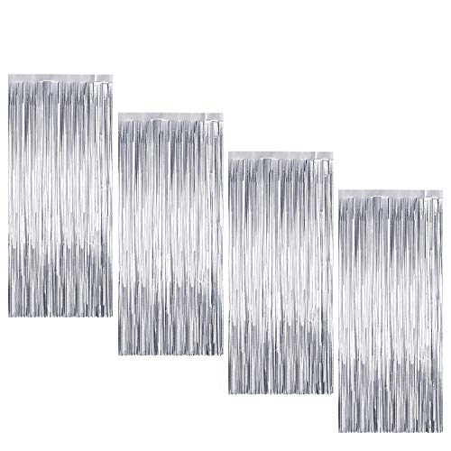 4 Piezas Cortina de Oropel MetálicaFoil Fringe Curtain Shimmer Puerta