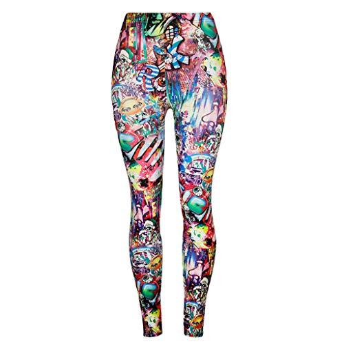 Linkay Damen Graffiti Sport Leggings Nahtlose Kompressions Sporthose Yoga Fitnesshose mit Hohe Taille für Workout Gym Jogging (Himmelblau,Small)