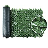 """SEKKVY 39"""" x 118"""" Artificial Hedges Faux Ivy Privacy Fence Screen Peach Leaves Panels with Mesh Backing - Vine Decoration for Outdoor Decor, Garden, Yard"""