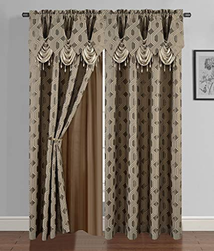 """Golden Linen Luxury Curtain/Window Panel Set Ragad Collection 2pc Curtain Set with Attached Valance and Backing 55""""X84"""" Each(Brown)"""