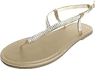 Geilisungren Fauean Flip Flops Flache Sandalen Zehentrenner Sandals Flip Toe-Thong Damen Elegant Riemchensandale Sommer Ha...