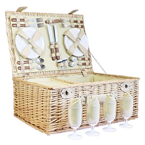 Sutton Traditionnel Panier pique-nique en osier 4 personnes avec Couverture de tartan mauve