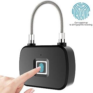 Generic Candado de Huella Digital Cerradura biométrica de Huella Digital Carga USB a Prueba de Agua para Cerradura de Seguridad antirrobo al Aire Libre