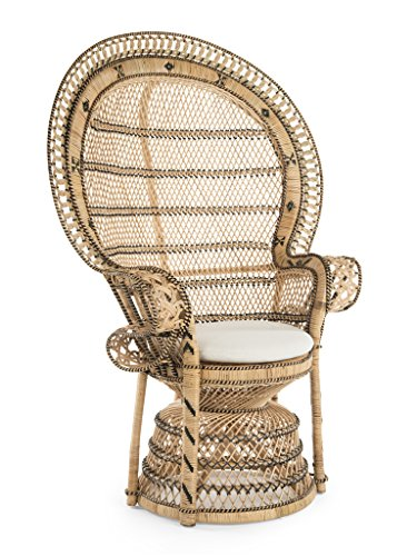 KOUBOO Grand Pecock Retro Peacock Chair in Rattan with Seat...