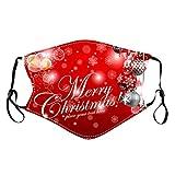 Binggong Weihnachtsmotiv Mundschutz Maske für Erwachsene,Santa Geschenke Reindeer Muster Druck Bandana Face Cover Waschbar Atmungsaktive Mundschutzhülle Halstuch Stoffmaske