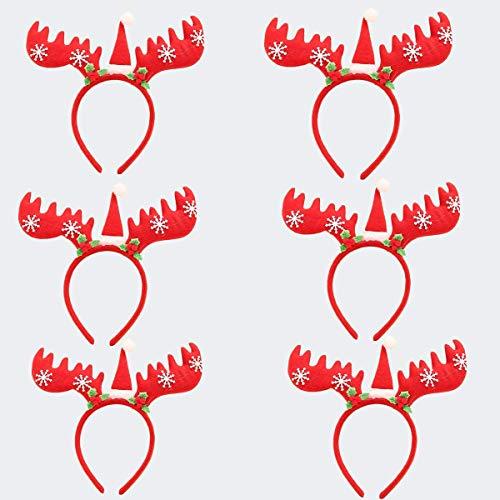 Reno Cornamenta Diadema 6 piezas Aro de pelo de Cornamenta de Reno Sombrero de Santa y copos de Nieve para Festival de Navidad Fiesta de Cumpleaños Halloween Cosplay Disfraz Accesorios de fotografía