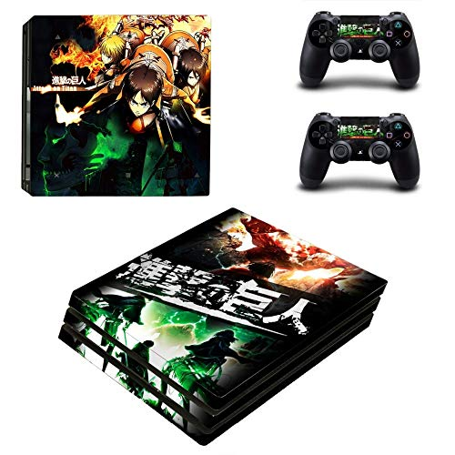 Anime Attack On Titan Ps4 Pro Skin Sticker Decal Vinyl para Playstation 4 Console y 2 controladores Ps4 Pro Skin Sticker