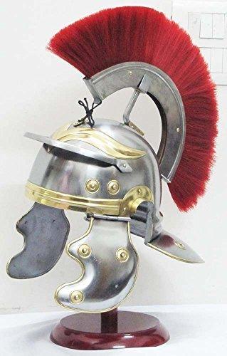 Roman Centurion Medieval Knight Helmet Warrior Armor Metal Red Plume with inner liner by Shiv Shakti Enterprises