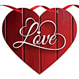 Soul Décor Valentine Decorations Love Red Wood Background, Wooden Heart Shaped Door Sign with Red Satin Ribbon