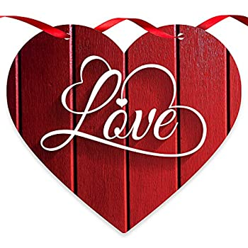 Soul Décor Valentine Decorations Love Red Wood Background Wooden Heart Shaped Door Sign with Red Satin Ribbon