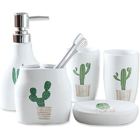 Amazon Com 5 Piece Ceramic Bath Accessory Set Includes Bathroom Designer Soap Or Lotion Dispenser Toothbrush Holder Tumbler Soap Dish Wedding Housewarmung Gift 5 Pieces Green Cactus Home Kitchen