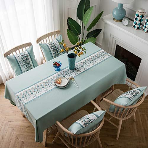Creek Ywh tafelkleed, waterdicht, Europese klassieker geborduurd in effen kunstleer van katoen en linnen, rechthoekig, tafelkleed met rand, mintgroen - gebreid, 135 x 200 cm