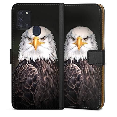 DeinDesign Klapphülle kompatibel mit Samsung Galaxy A21s Handyhülle aus Leder schwarz Flip Hülle Adler Vogel