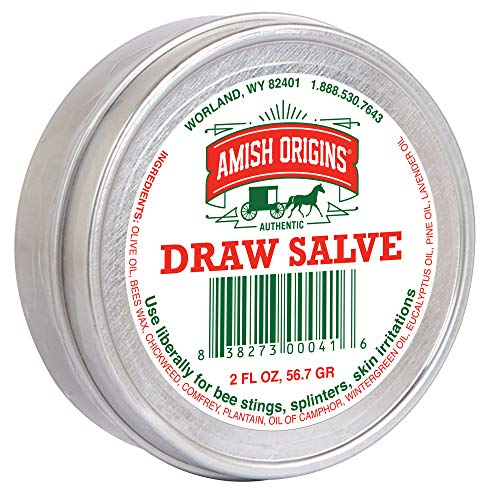 Amish Origins Draw Salve–2 oz, Authentic Amish Formula,Natural Powerful Salve, Provides Relief from Topical Pain and Irritations, Splinters, Sores, Bee Stings,Foreign Objects Embedded in The Skin.