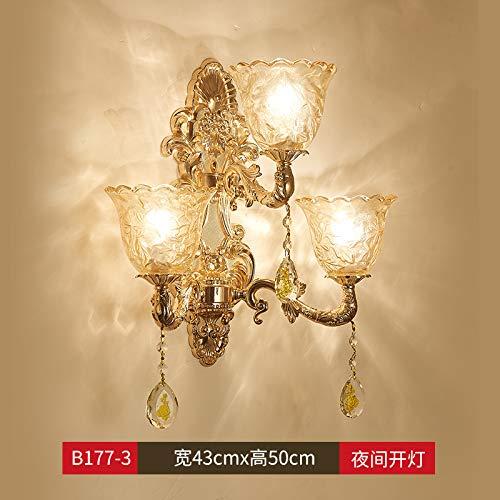 Agorl Applique en cristal cristal de chambre à coucher lampe d'escalier extérieur simple et double tête lampe de lit, LT177 + 3 tête