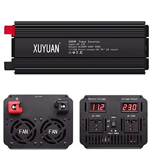 CCTV Inversor 4000W, Inversor de coche de onda sinusoidal pura para trabajo pesado, Convertidor DC12V a AC220V con 2 salidas AC, Pantalla LED y USB de 2,4 A para el hogar, Carga de coche y al aire lib
