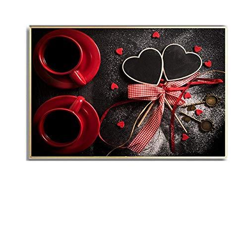 Cartel de la taza de café roja Vintage en forma de corazón pintura en lienzo arte de la pared imágenes impresas para la cocina decoración de la cafetería regalos-60x80cm sin marco